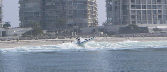 Jim Alsup punching through a wave off Coronado. Two others were not so lucky.